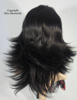Medium Length Natural Black Flick Style Full Head Wig